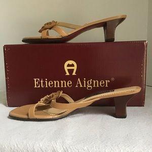 Etienne Aigner Flower Sandal in Camel, Size 8
